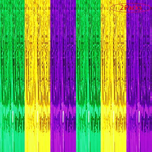 Jblcc 2PCS Mardi Gras Foil Fringe Curtains - Mardi Gras Party Supplies