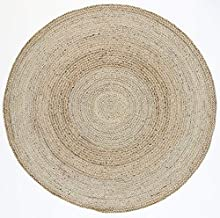 Home Culture Zari Silver Jute Round Rug for Bedroom, Living Room, High Traffic Areas of Home and Office (240x240cm Round)