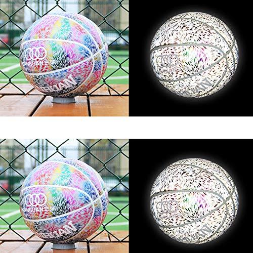 JJHG Baloncesto luminoso, perfecta luminiscencia en la oscuridad, tres anillos reflectantes, fluorescentes fluorescentes, fluorescentes, arcoíris, cielo estrellado, bola azul