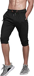 Gopune Men's Cotton Casual Shorts 3/4 Jogger Capri Pants Workout Summer Short with Zipper Pockets