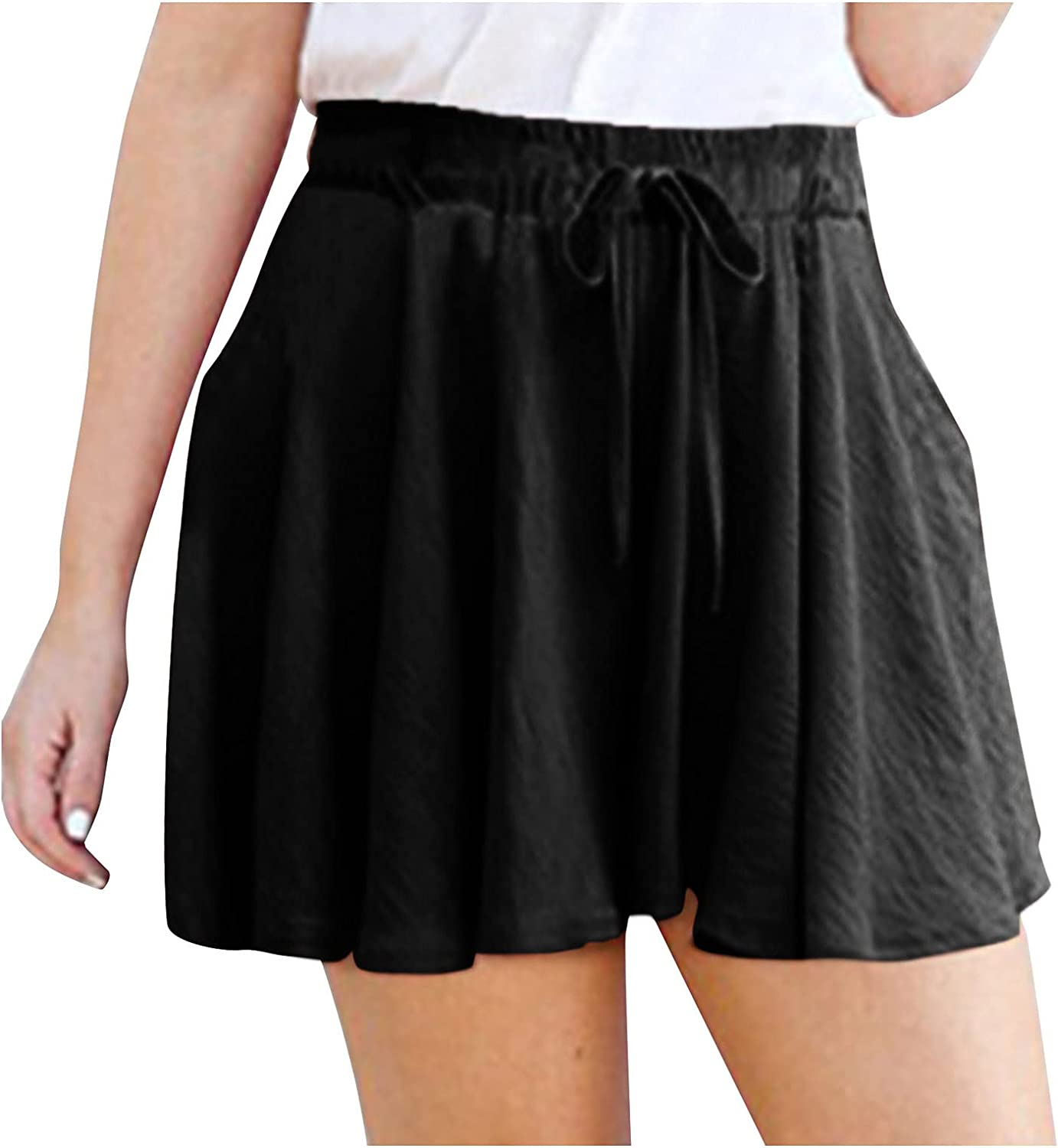 KEJINKCSEE Women's Casual Shorts Directly managed store Waist High Drawstring Wid Sale price