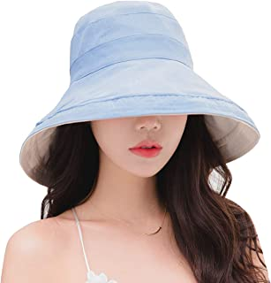 Women Reversible Bucket Hat UV Sun Protection Wide Brim Foldable Floppy Bucket Hat