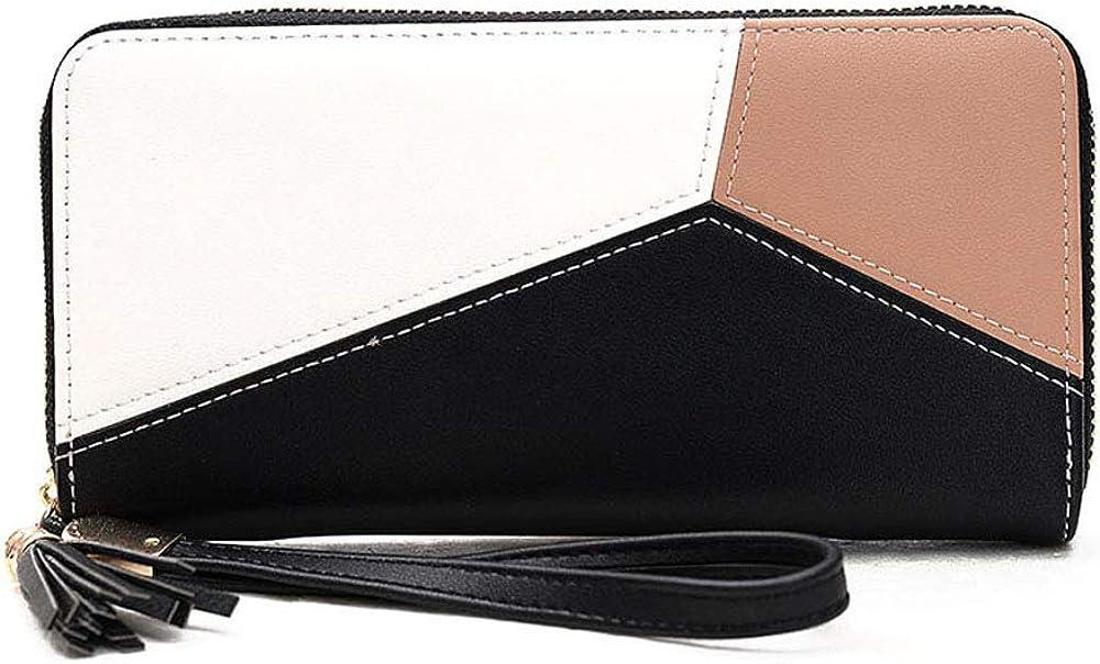 ZENTEII Women Synthetic Leather Long Wallet Wristlet Clutch with Zipper