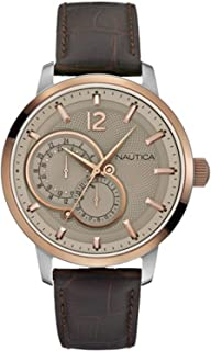 Nautica nct 15 multi Womens Analog Quartz Watch with Leather bracelet A16649G