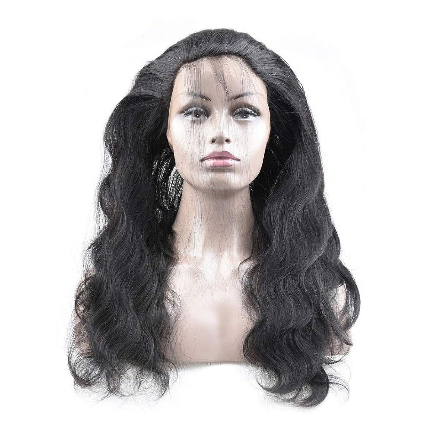 哺乳類疼痛とんでもないJULYTER 360レース前頭かつらヘアラインレースフィギュア人間の髪の毛のかつら実体波髪のかつら (色 : 黒, サイズ : 8 inch)