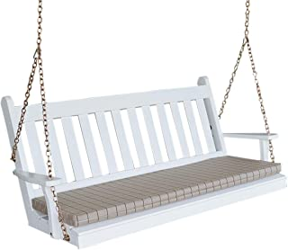 Wood Porch Swing, Amish Outdoor Hanging Porch Swings, Patio Wooden 2 Person Seat Swinging Bench, Classic Front Porches Furniture, Outside Furnishings, 5 Foot, Traditional English (White)