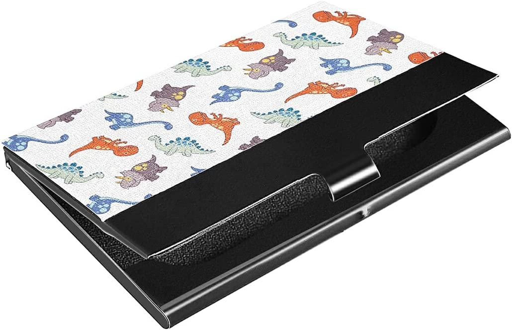 Pattern Dinosaurs Business Card Ranking TOP17 Holder Professional PU Case Spring new work Lea