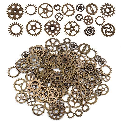 BronaGrand 100 gramos de metal vintage Steampunk dijes reloj rueda engranajes esqueleto colgantes para manualidades y bisutería, Brone