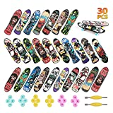 HEHALI 30 Pcs Finger Skateboards, 3 Types of Mini Fingerboards in 10 Different Patterns Novelty Toys for Kids Party Favors, Christmas Goodie Bag fillers, Christmas prizes