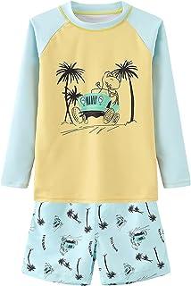مجموعة ملابس سباحة واقية مكونة من قطعتين للأولاد مع صندوق سباحة للأطفال بأكمام طويلة