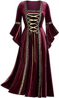 SHINEHUA Mittelalterliches Kostüm Damen Langarm Renaissance Mittelalter Samt Maxikleid Viktorianischen Königin Kleider Vin...