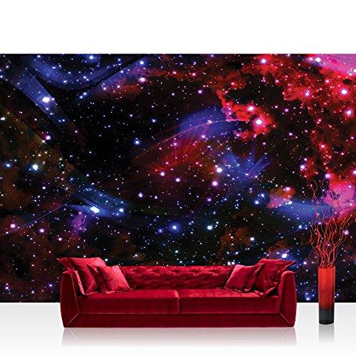 Fototapete 368x254 cm PREMIUM Wand Foto Tapete Wand Bild Papiertapete - Welt Tapete Weltall Weltraum Kosmos Sterne Licht blau - no. 2216