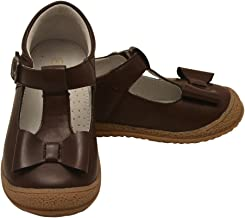 Angel Little Girls Brown Bow T-Strap Mary Jane Autumn Shoes 11-2 Kids