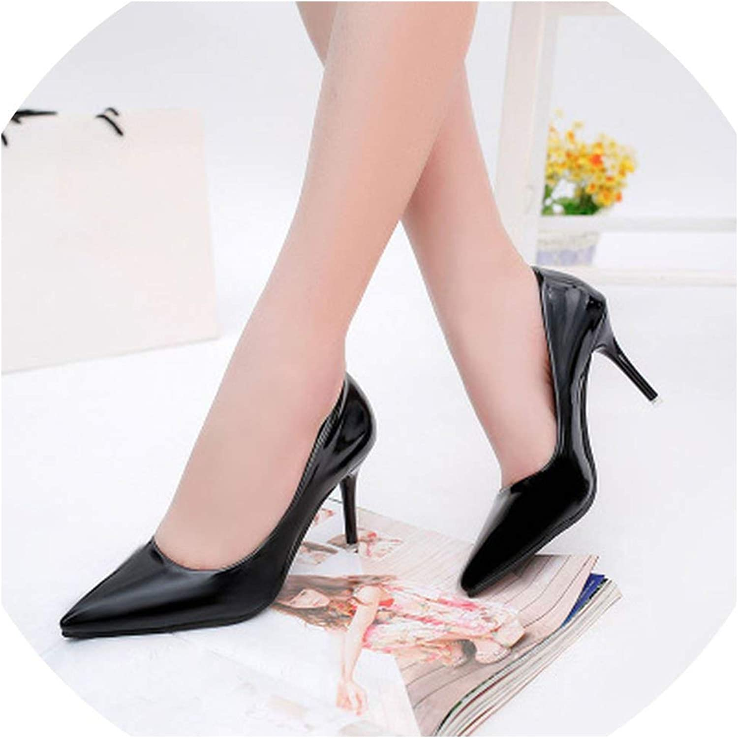 High Heels Shallow Mouth Sexy Black Patent Leather Work shoes Women's shoes