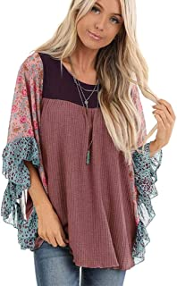 Oldlover-Women Casual Tops Printed Long Sleeve O Neck T Shirts Loose Pullover Sweater Flouncing Flared Bat Sleeve Tops