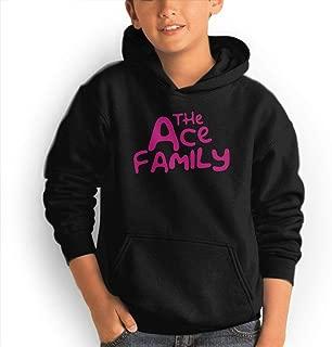 Youth Pocket Hooded Sweatshirt ACE Family Unique Classic Fashion Style Black