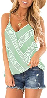 Women's Adjustable Spaghetti Strap Button Down Shirts Blouses V Neck Floral Print Summer Sleeveless Casual Tank Tops