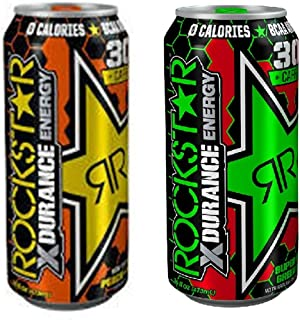 Rockstar Xdurance Energy Drink Variety, Peach Iced Tea and Super Sour Green Apple, 16fl.oz (Pack of 16)