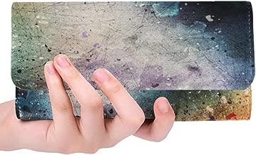 Unique Custom Art Abstract Watercolor Vintage Galaxy Women Trifold Wallet Long Purse Credit Card Holder Case Handbag