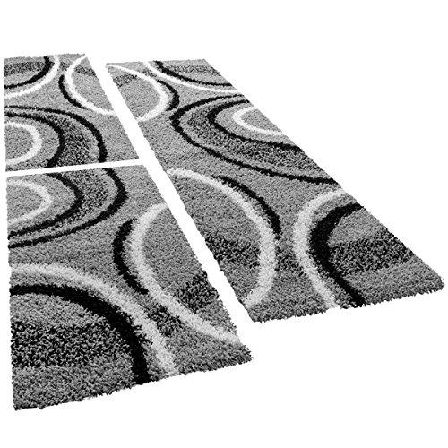 Shaggy Läufer Bettumrandung Teppich Vigo Gemustert Versch. Farben 3er Set, Farbe:grau, Läuferset Größen:2 mal 70x140 1 mal 70x250 cm
