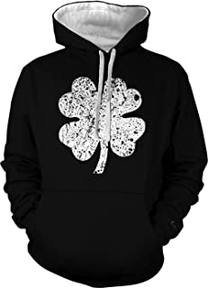 Distressed White Four Leaf Clover Adult Two Tone Hoodie Sweatshirt
