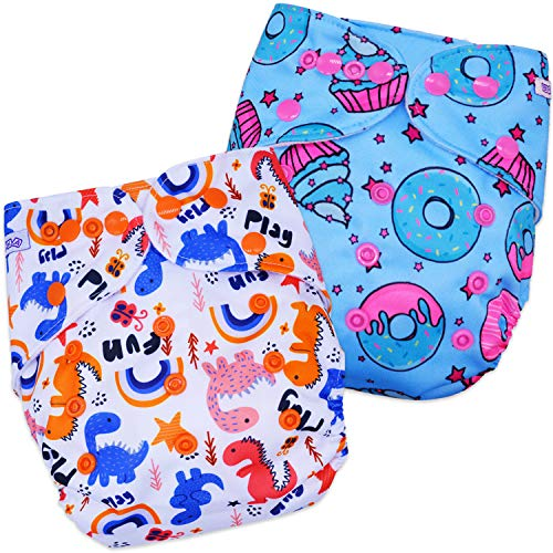 Bembika Baby Pocket Cloth Diapers Without Inserts, Reusable Cloth Diapers Washable Fitted Diapers One Size Adjustable Reusable for Baby Girls and Boys (2 Combo) (No Inserts Included)2T