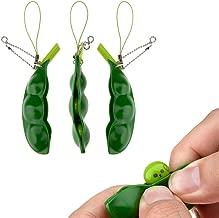 Fidget Toys, SnowCinda 3 PCS Squeeze-a-Bean Soybean Stress Relieving Keychain Mobile Chain Fidget, Green, 3Pack