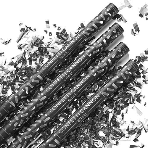 PartyMarty 4X XXL Konfetti-Shooter Silber 80 cm - Party Popper Konfettikanone Konfettishooter Streamer - für Silvester, Hochzeit, Party, Geburtstag & Co GmbH®