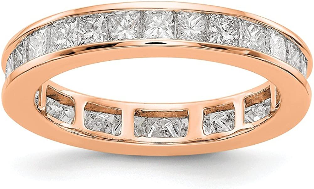 Solid 14k Max 44% OFF Rose Gold 2ct Anniversary Channel New popularity Diamond Set Princess