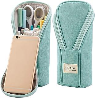 Anvin Standing Pencil Case Canvas Pencil Pouch Pen Bag Big Capacity Simple Stationery Bag School College Office Organizer ...