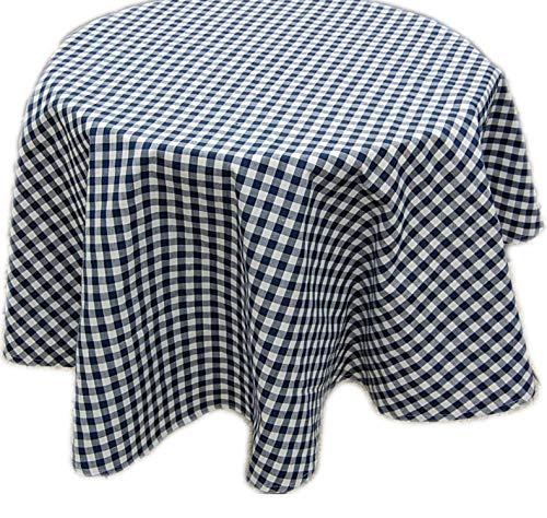 Pflegeleichte Tafeldecke Decke Unterdecke Blau Weiß Karierte Gartendecke Küchendecke Landhaus (Tischdecke rund 150 cm Durchmesser)