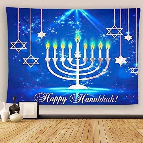 Uoopati Hanukkah Tapestry Wall Hanging Happy Shining Menorah David Star And Bokeh Blue Wall Art Tapestries Tapestry for Bedroom Room Decor Picnic Mat Beach Bed Cover 60'x80'