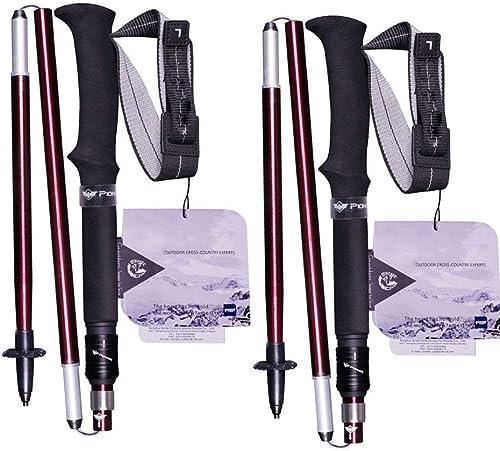 Batons De Randonnée Batons De Marche, 2 PCS Batons De Marche Pliable en Alliage D'aluminium avec Système De Serrure,pour Marche Nordique, Alpinisme, Ski, Trekking,rouge