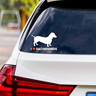 I Love Dachshunds Vinyl Car Sticker Decal