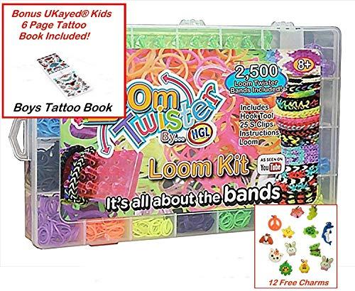 Girls or Boys Large Loom Twisters Bands Set & Bonus UKayed Kids Tattoo Book 2500 Loom Rubber Bands Set & Kids 6 Page Tattoo's Transfer Book & Storage Case (Boys Kits)