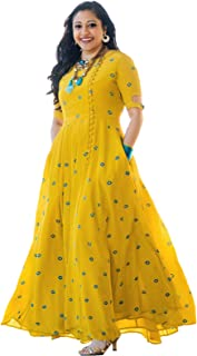 Arayna Women's Long Embroidered Rayon Kurti, Yellow