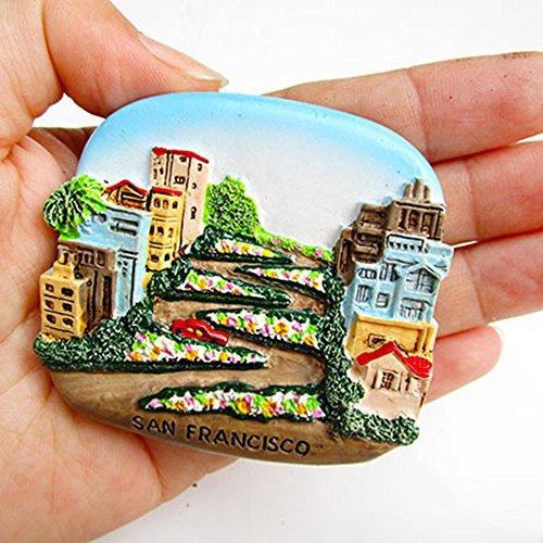 Imán de Nevera de Resina 3D, Imanes de Nevera de Viaje Hechos a Mano, Colección de Pegatinas de Pizarra Blanca de Travel City, para Accesorios de Cocina para el Hogar, San Francisco