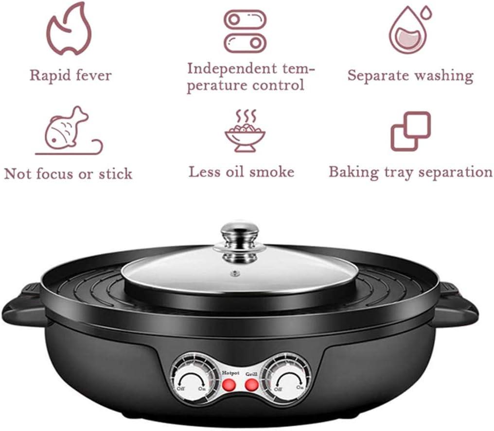 WZYJ Gril électrique 2 en 1, Gril de Barbecue intérieur antiadhésif sans fumée, Pot Shabu Shabu Multifonctionnel avec séparateur, capacité pour 6 Personnes,Rouge Black