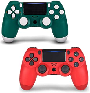 2 Pack Controller for PS4,Wireless Controller for Playstation 4 with Dual Vibration Game Joystick (Green + Red)