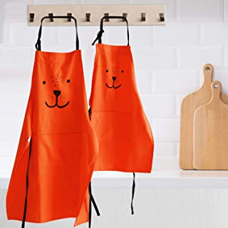 YOLOPLUS+ 2 Pack Cartoon Cotton Apron Cute Bear Parent and Child Apron,Father Mother Son Daughter Matching Set Adult and Kid for Cooking,Baking,Painting,Coffee Shop.Party (Orange)
