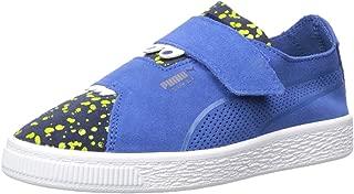 PUMA Boys' Suede Deconstruct Velcro Sneaker, surf The Web-Peacoat-Blazing Yellow, 2 M US Little Kid