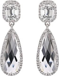 Clearine Damen Fashion Hochzeit Party Österreichen Kristall Emeraldschliff Tropfen Unendlichkeit Dangle Ohrringe