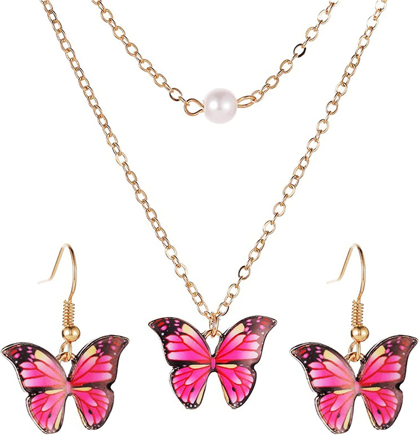 Year-end annual account ZHENGFEN Butterfly Necklace Earrings Set Layered Pend Today's only