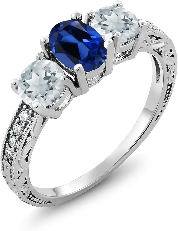1.82 Ct Oval bluee Simulated Sapphire Sky bluee Aquamarine 925 Silver Ring