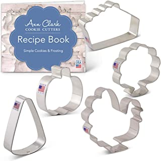 Ann Clark Cookie Cutters 5-Piece Thanksgiving Feast Cookie Cutter Set with Recipe Booklet, Turkey, Front Facing Turkey, Slice of Pie, Candy Corn and Pumpkin