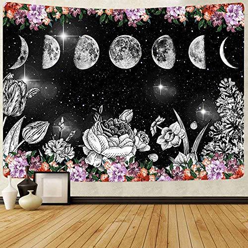 JXWR Tapiz de jardín a la luz de la Luna Fases de la Luna C