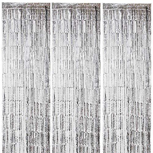 ONUPGO 3 Stück Silber Folienvorhänge Fransen, 1 m x 3 m, glänzendes Metallic-Lametta-Vorhang für Neujahr, Fotokabine, Türvorhang, perfekt für Geburtstag, Hochzeit, Weihnachten, Party-Dekorationen