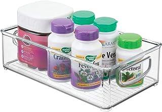 mDesign Stackable Plastic Storage Organizer Bins Trays Handles - Holds Vitamins, Supplements, Medicine Bottles Essential O...
