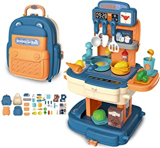 Little Kitchen Playset, portable Kids Play Kitchen with cooking utensils, pots, fruits and vegetables, Play Sink, and Othe...