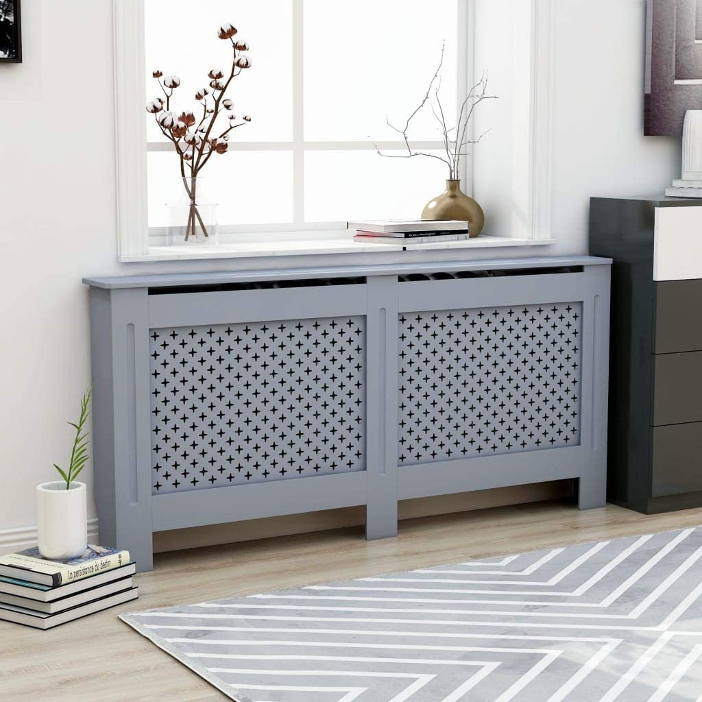 MDF Radiator Cover With Honeycomb Pattern, Modern Finish Heating Cabinet, With Additional Shelf Place Flower Pots Book, for Home Living Room 67.7